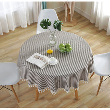 Load image into Gallery viewer, Striped Round Tablecloth  150 cm Diameter  & 6 Color Variations - Party Celebration Wedding Table Cloth or add to your Home Table Decor