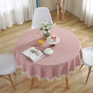 Striped Round Tablecloth  150 cm Diameter  & 6 Color Variations - Party Celebration Wedding Table Cloth or add to your Home Table Decor