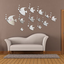 Load image into Gallery viewer, Silver Tropical Fish Mirror /Wall Sticker. DIY 13 Pieces. Home Mural & Ornament Wall Sticker. Add to your Modern Home Decoration