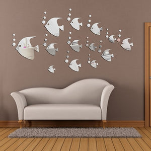 Silver Tropical Fish Mirror /Wall Sticker. DIY 13 Pieces. Home Mural & Ornament Wall Sticker. Add to your Modern Home Decoration