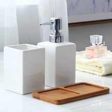 Load image into Gallery viewer, Ceramic Liquid Soap Dispenser + Toothbrush Holder + with Bamboo Holder. Choose White or Black