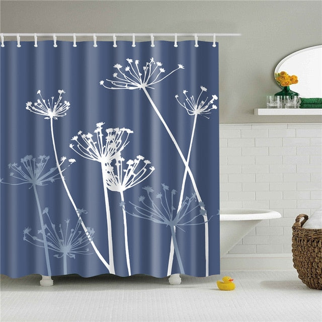 Blue and White Dandelion Shower Curtain with 12 Shower Hooks