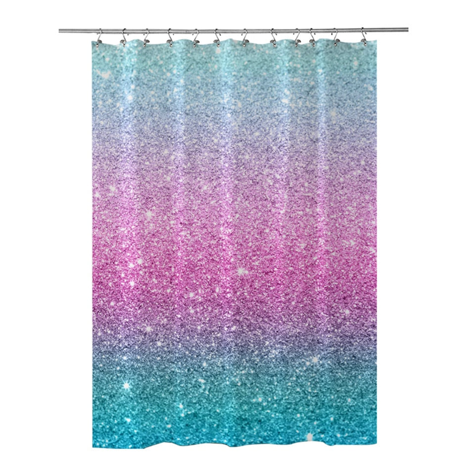 Colourful Glitter Shower Curtain with Curtain Hooks