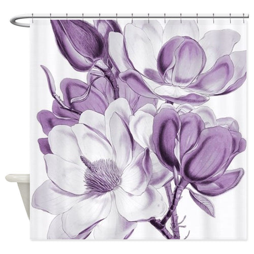 Shower Curtain Magnolia Purple Dream Print - Decorative Elegant Bathroom Curtain - Home Bath Decor Various sizes