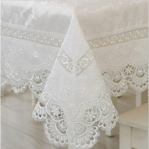 Luxury Off White Tablecloth with White Embroidery Lace. Range of sizes Beautiful Tablecloth