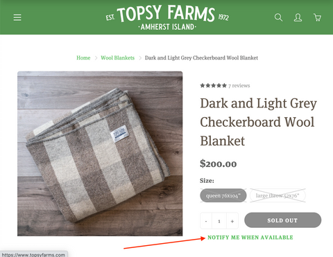 "Topsy Farms' product page, with the ""notify me when available"" button hilighted"