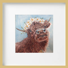 Water colour painting of Topsy Farms' Willow the highland cow, wearing a crown of daisies
