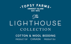 Topsy Farms' Lighthouse collection wool filled bedding logo