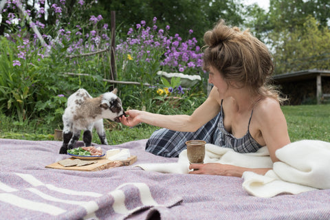 Blonde woman with messy bun wearing a strappy plaid sundress, on a purple tweed Topsy Farms' blanket, sharing a charcuterie picnic with a small fuzzy brown and white lamb