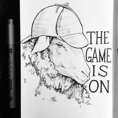 "Line drawing of a sheep wearing a Sherlock Holmes hat, saying ""the game is on"""