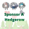 "Topsy Farms' iconic cartoon sheep above 3 hearts, with text reading ""sponsor a hedgerow"""