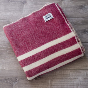 Burgundy Tweed with White Stripes Wool Blanket