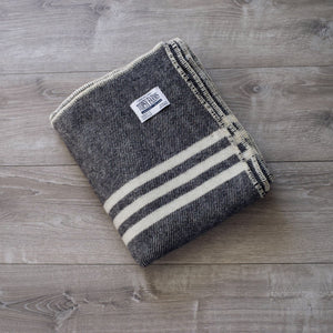 Topsy Farms black tweed small throw wool blanket