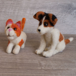 Felted dog and cat