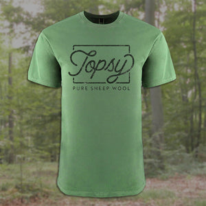 Topsy Pure Sheep Wool unisex tee in clover green