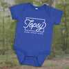 Topsy Pure Sheep Wool onesie in royal blue heather