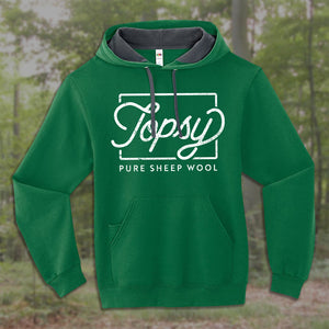 Topsy Pure Sheep Wool hoodie in kelly green