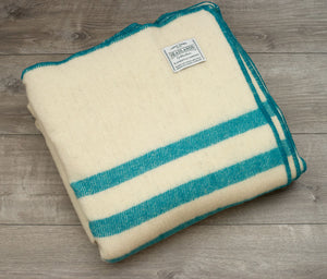 White with Turquoise Stripes Wool Blanket