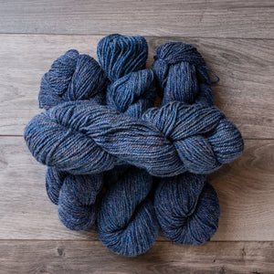 Blue Heather skeins of yarn.