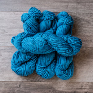 Blue Light skeins of yarn.