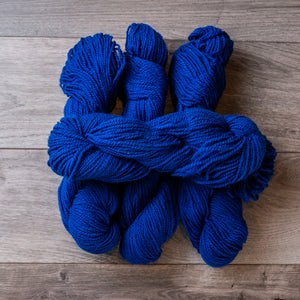 Blue Royal skeins of yarn.