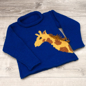 Topsy Farms' hand knit royal blue child's sweater with a brown and yellow giraffe