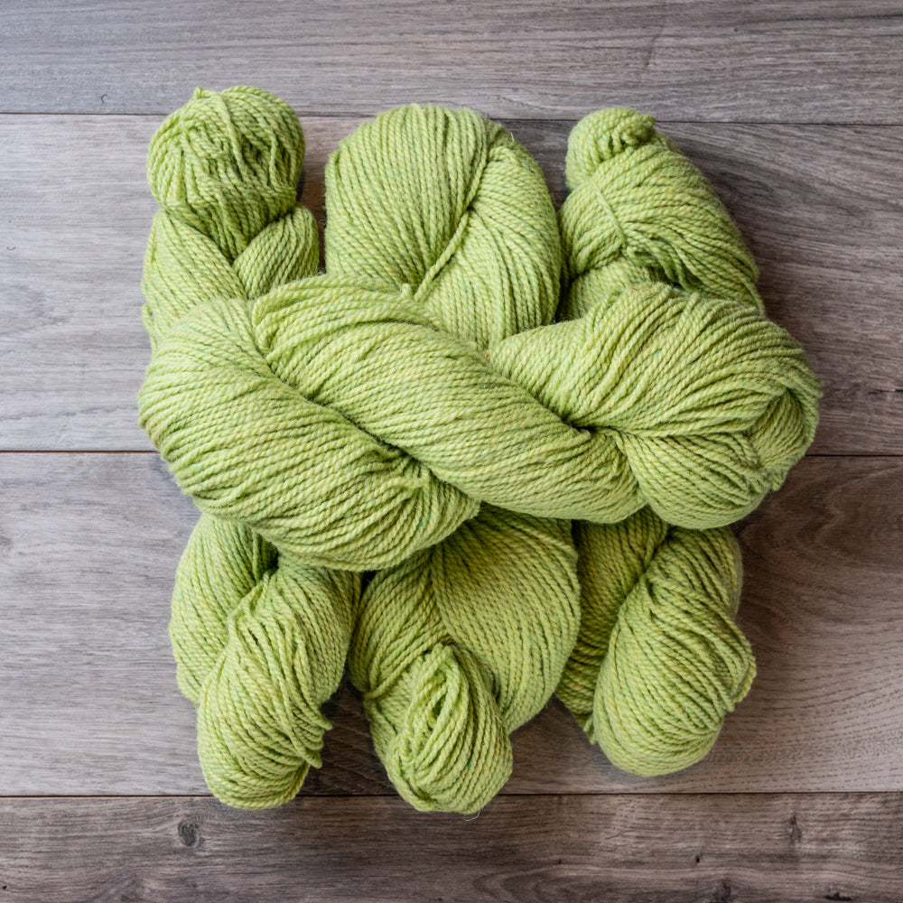 Green Celery skeins of yarn.