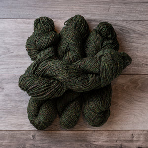 Green Heather skeins of yarn.