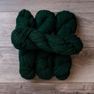 Green Hunter skeins of yarn.