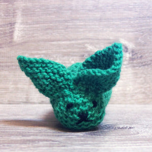 Kelly green knitted wool bunny by Topsy Farms