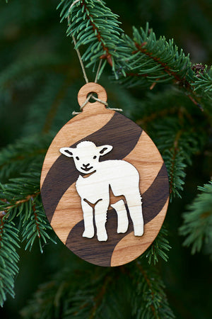 Topsy Farms' wooden lamb ornament by Lake Edge Wood