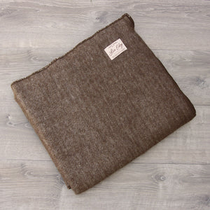 Live Edge Natural Chestnut Brown Alpaca Wool Throw
