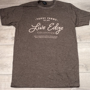 Topsy Farms' Live Edge collection brown heather tee shirt