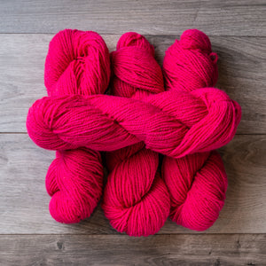 Pink Bright skeins of yarn.