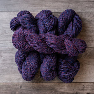 Purple Heather skeins of yarn.
