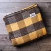 Brown and Gold Checkerboard Wool Blanket