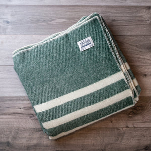 Forest Green with White Stripes Wool Blanket