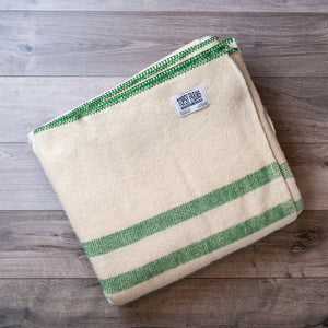 Green kelly striped queen blanket made of natural wool.