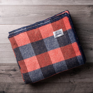Navy Blue and Red Checkerboard Wool Blanket