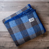 Royal and Navy Blue Checkerboard Wool Blanket
