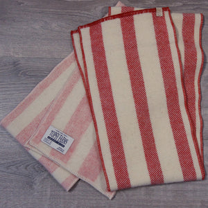 Two striped scarves, red and white and pink and white, made from Topsy Farms' wool