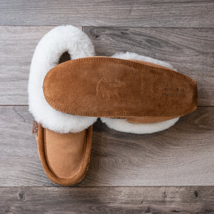 Tan suede moccasin slippers, with white sheepskin collar