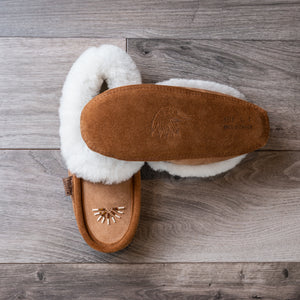 Tan suede moccasin slippers, with white sheepskin collar and two-toned decorative beading on top