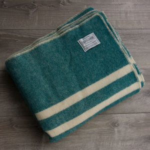 Teal with White Stripes Wool Blanket