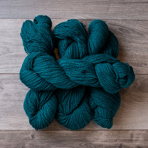 Teal skeins of yarn.