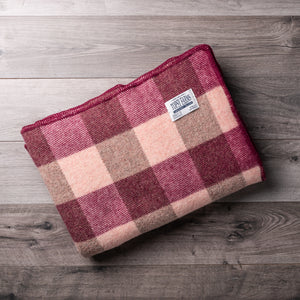 Burgundy and Pink Checkerboard Wool Blanket