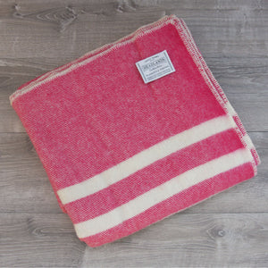 Topsy Farms bright pink queen wool blanket