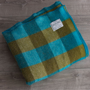 Olive Green and Turquoise Checkerboard Wool Blanket