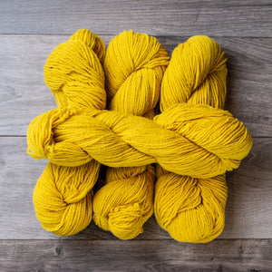 Yellow skeins of yarn.