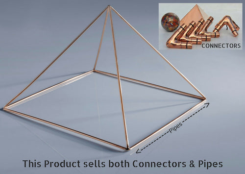Handmade 8ft Copper Giza Meditation Pyramid - 8 Feet Base (Connectors + Pipes) - Light Weight